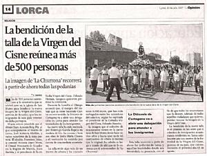 LA BENDICION DE LA TALLA DE LA VIRGEN DEL CISNE REUNE A MAS DE 500 PERSONAS