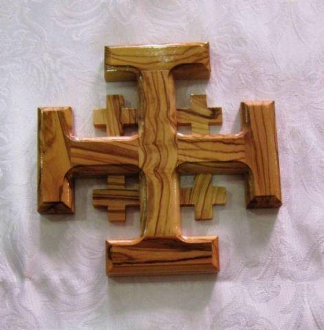 Jerusalem Madera de Olivo Cruz Crucifijo con esencias Santo